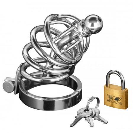 Asylum 4 Ring Locking Chastity Cage EN